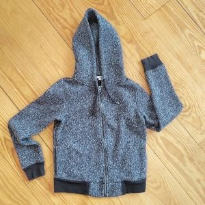 GAP Tweed Black & White Marled Fleece Lined Hoodie